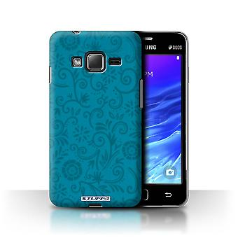 STUFF4 Case/Cover for Samsung Z1/Z130/Blue Flower/Floral Swirl Pattern