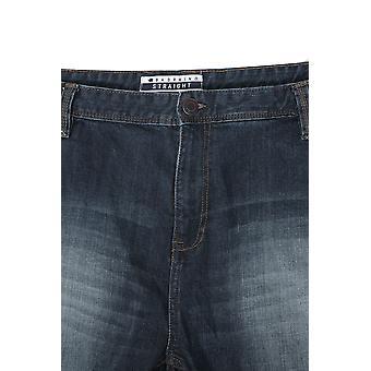 BadRhino stein vask Denim rett ben strekk Jeans - høy