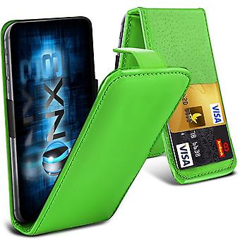 ONX3 (Green) BlackBerry DTEK50 / BlackBerry Neon Premium PU Leather Universal Spring Clamp Flip Case with Camera Slide and Card Slot Holder