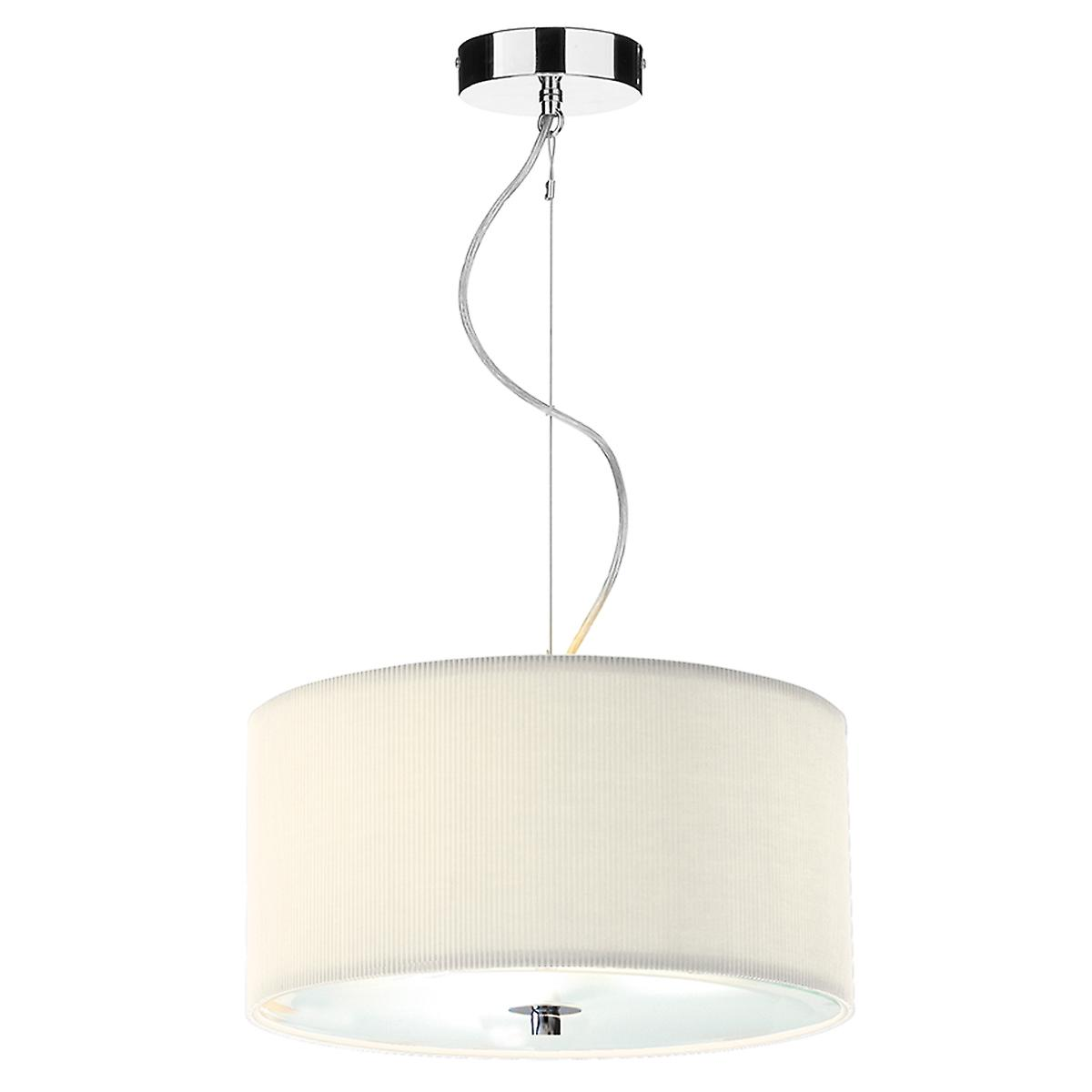 Dar ZAR1033 Zaragoza 40cm Cream Cotton Drum Pendant With Glass