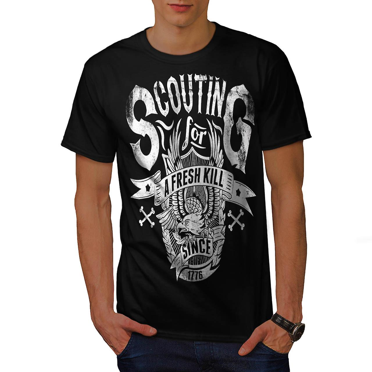 Mangiare fresco Kill Eagle Scout Club uomini t-shirt nero | Wellcoda