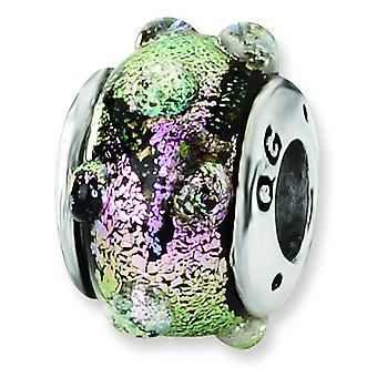 Sterling Silver Textured Antique finish Reflections Purple Dichroic Glass Bead Charm