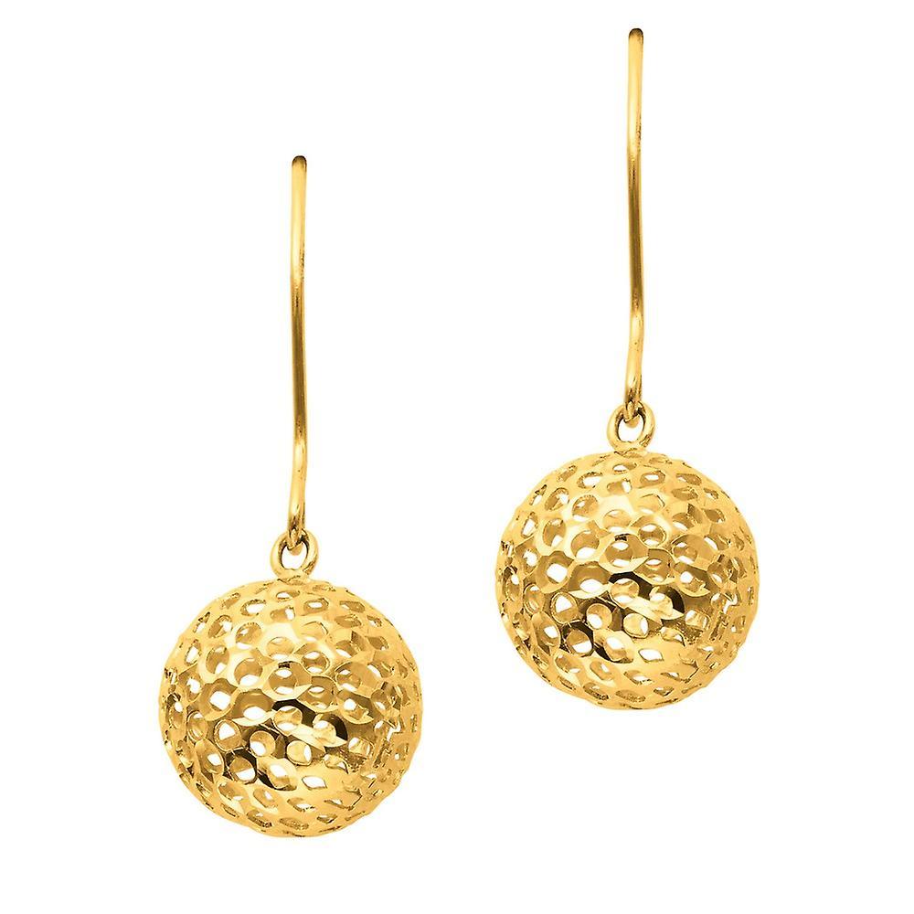 14 k jaune or texturé brillant grande maille boule mode Boucles d'oreilles - 1,3 grammes