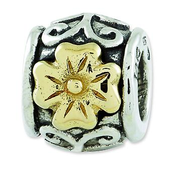 Sterling Silver 14k Reflections SimStars Floral Bead Charm