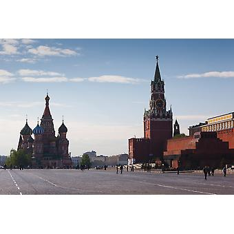 Saint Basils Cathedral and Kremlin Spasskaya Tower Red Square Moscow Russia Poster Print
