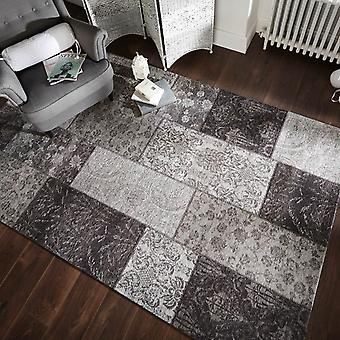Manhattan Patchwork Chenille Rugs In Black And Grey