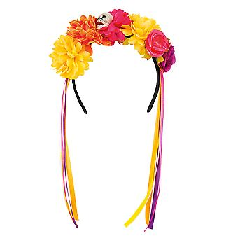 Day of the Dead La Pelona Flower Headband with Skull Fancy Dress Accessory
