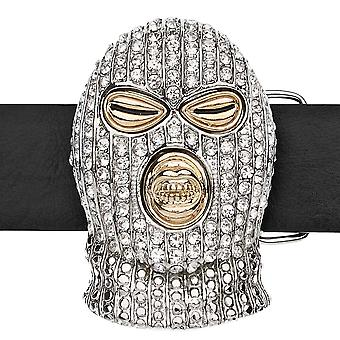 Iced out bling belt - GANGSTER GOON MASK silver