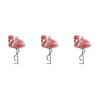 Udskåret træ Tropical Pink Flamingo Oranments sæt af 3