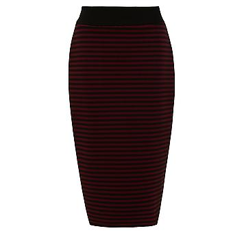 Striped Pencil Skirt With Contrast Waistband