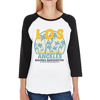 Los Angeles Beaches Summertime Womens Vintage Design Baseball Shirt
