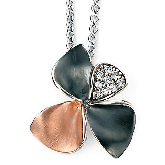 925 Silver Rose Gold Plated Flower And Oxidiser, Zirconia Necklace