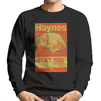 Haynes Workshop Manual Fiat 500 479cc Blue Distressed Stripe Men's Sweatshirt