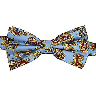 David Van Hagen Edwardian Paisley Silk Bow Tie - Sky Blue