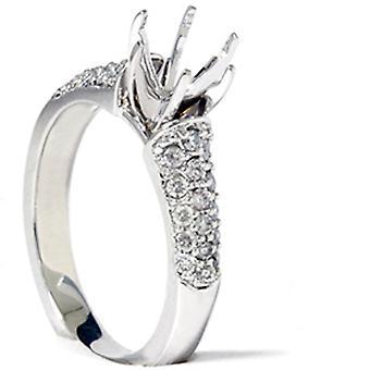 Белое золото 3 / 8ct проложить алмазов полу гору обручальное кольцо