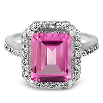 4 1/2ct Pink Topaz & Diamond Vintage Halo Engagement Ring White Gold
