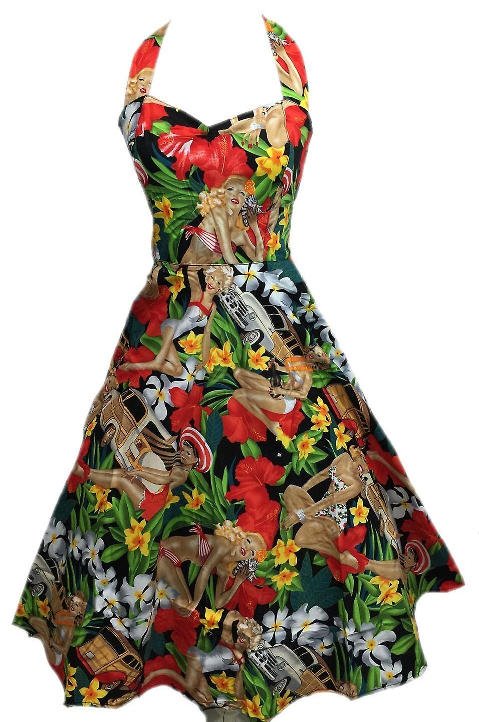 Vintage 50s Hepburn Dress Halter 1950s Style Beach Girl Print Pin Up Rockabilly
