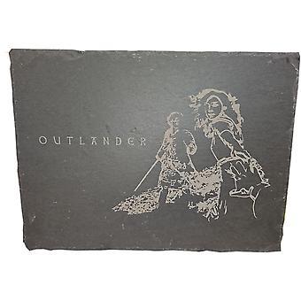 Graham Wishart láser grabados oblongo pizarra grande con soporte de Outlander