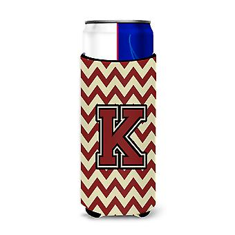 Letter K Chevron Maroon and Gold Ultra Beverage Insulators for slim cans
