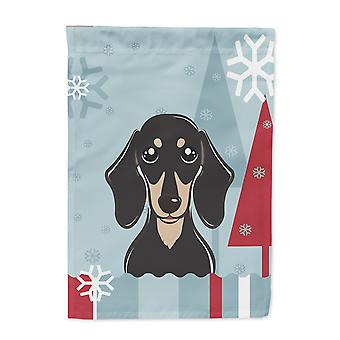 Winter Holiday Smooth Black and Tan Dachshund Flag Canvas House Size