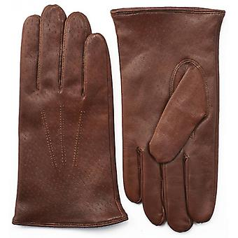 Pittards Three Point Aniline Leather Gloves - Luggage Brown