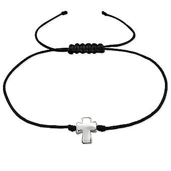Croix - argent Sterling 925 + corde de Nylon à cordon Bracelets - W30282X