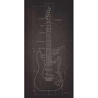 Electric Guitar Blueprint Poster Print by Lauren Rader (18 x 36)