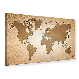 Canvas Print kaart van de wereld In Vintage