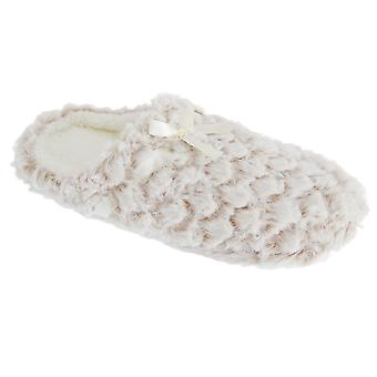 Slumberzzz Womens/Ladies Fluffy Grippy Scale Pattern Slipper Shoes