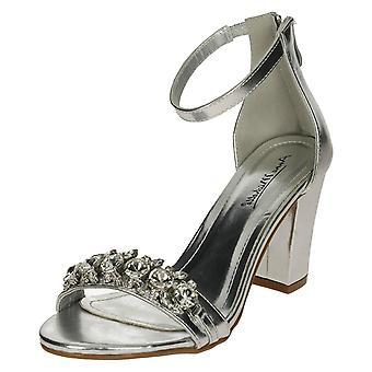 Ladies Anne Michelle Jewel Trim Sandals - Silver Metallic - UK Size 5 - EU Size 38 - US Size 7