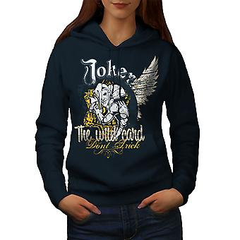 Laugh Card Gamble Women NavyHoodie | Wellcoda