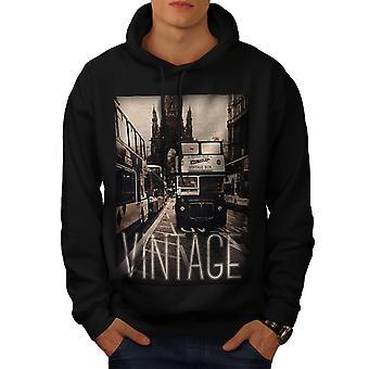 Antiguo autobús Vintage hombres BlackHoodie | Wellcoda