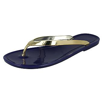 Ladies Spot On Flat Metallic Toe Post Jelly Sandals F0594