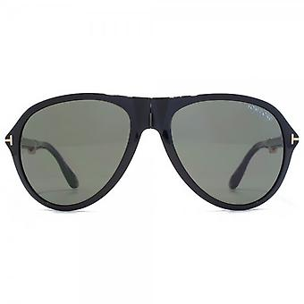 Tom Ford Dalton Folding Sunglasses In Shiny Black Polarised