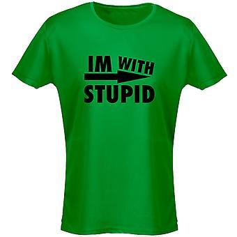 Estoy con estúpido para mujer camiseta 8 colores (8-20) por swagwear
