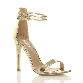 Ajvani womens alto tacco a spillo a malapena ci doppia fibbia partito sandali scarpe da