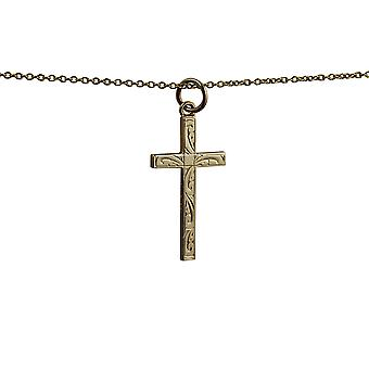 9ct Gold 25x15mm hand engraved solid block Cross with a cable Chain 16 inches Only Suitable for Children