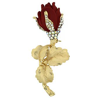 Brooches Store Matt Gold  and  Crystal Red Rose Brooch