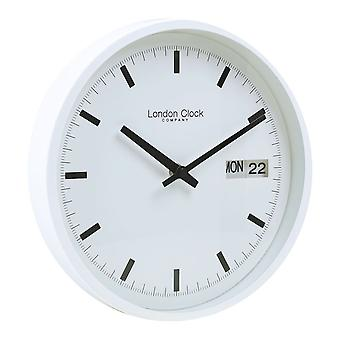 25 cm White Day Date Wall Clock