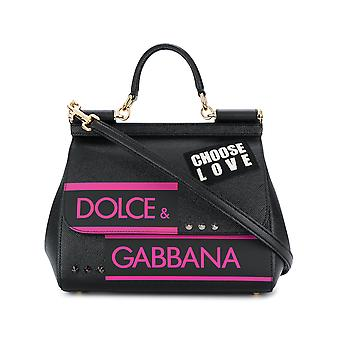 Dolce E Gabbana women's BB6002AS53780999 black leather handbags
