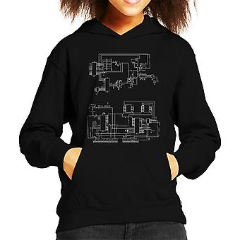 TRS 80 Computer Schematic Kid's Hooded Sweatshirt