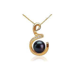 Spiral pendant and Pearl of black culture and plated gold