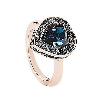 Guess ladies ring stainless steel rose crystal blue UBR28510