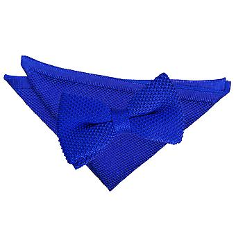 Kongeblå strikket tversoversløyfe og Pocket Square sett