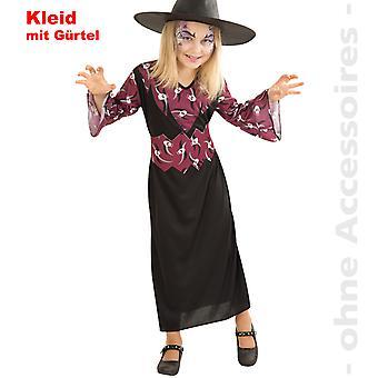 Hexe Kostüm Hexenkleid Skull Kinder Zauberin Kinderkostüm