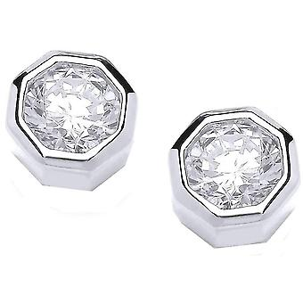 Cavendish French Octagonal Stud Earrings - Silver