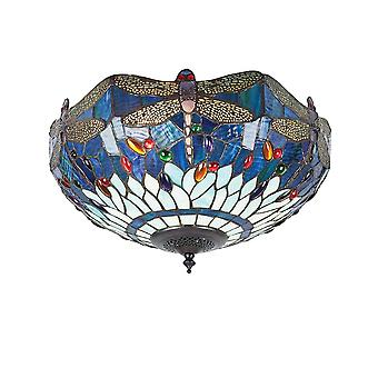Interiors 1900 Blue Dragonfly Semi Flush Ceiling Lamp Of Blue Tiffany