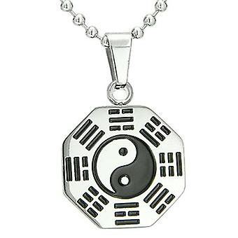Amulet Yin Yang BA GUA acht trigrammen roestvrij staal Lucky Charm hanger aan ketting ketting 18
