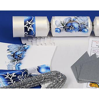 8 Pearlescent White & Blue Christmas Make & Fill Your Own Party Crackers Kit