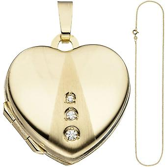 Locket heart pendant to open for photos 333 Gold 3 cubic zirconia necklace 45 cm